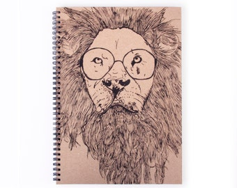 Notebook Personalise - Lion, Stationery, Recycled Paper, Writing, A4 Notebook, Art, Journal, Animal, Blank Paper, Lined Paper
