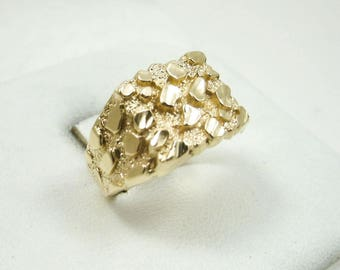NEW! Solid 10K Yellow Gold Extra Large Mens Diamond Cut Nugget Ring, Size 5 - 15