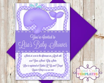 Personalized Printable Invitations | Purple Whale | Baby Shower | Birth Announcement |  #316