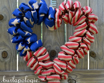 American Flag Burlap Heart Wreath, Red White & Blue Patriotic Burlap Wreath, 4 of July Wreath, Stars and Stripes 19 inches LIMITED EDITION