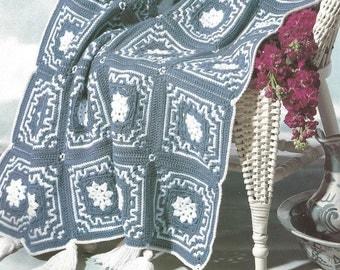 Crochet Afghan Wedgewood Pattern with Tassles throw blanket bed cover wrap blanket vintage pattern pdf download