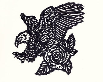 Bald Eagle and Rose