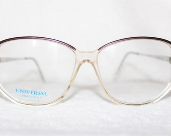 Vintage Womens Plastic Eyeglass Frame, Universal Vicki, NOS, Plum and Pastel Detail with Silvertone Temples, 57-14-140, New Old Stock, It 15
