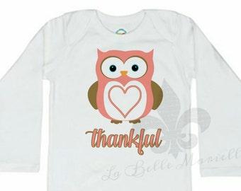 Custom Girl's Owl Thankful Thanksgiving Shirt or Onesie - Thankful Thanksgiving Shirt