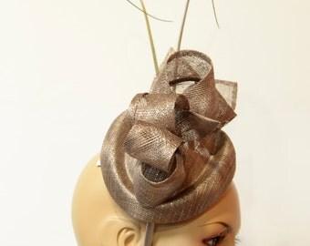 Brown sinamay fascinator, Kate Middleton Style Fascinator , Kentucky Derby Fascinator, English Royal Hat, Wedding, Church,Formal,Dressy Hat