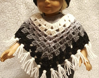 Fits American Gril or 18 inch Dolls -Off white, gray and black poncho and hat set