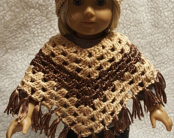 Brown and Tan Crocheted Poncho with matching Hat
