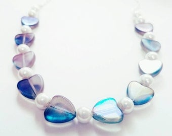 Amethyst Hearts and Pearls Necklace