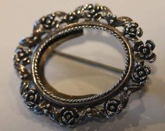 Vintage sterling silver rose leaf photo pin brooch