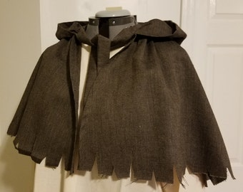 Renaissance Peasant/Worker's Shoulder Cape - Grey/Brown Herringbone