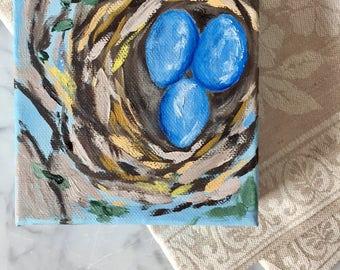 Bird Nest 4x4 Oil Painting