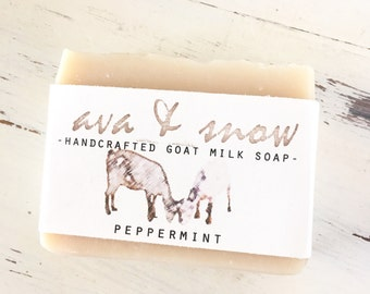 Peppermint Goat's Milk Soap, Handcrafted Peppermint Essential Oil Goat's Milk Soap, All Natural Peppermint Goat Soap