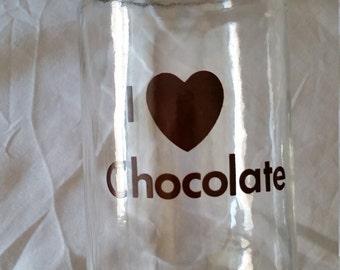 Vintage I heart / love Chocolate Jar brown lettering & lid