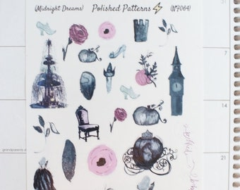 Midnight Dreams Planner Stickers (NF064) High Gloss, Semi-Gloss, Matte Planner Stickers