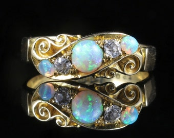 Antique Victorian Opal Diamond Ring 18ct Gold Chester Hallmark