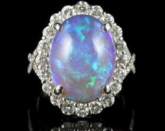 Black Opal Diamond Ring Platinum 16ct Black Opal
