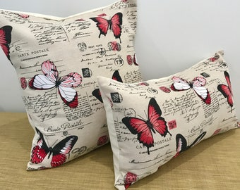 """French Linen Red Butterflies and Script on Taupe Linen Text Fabric Cushion Cover Throw Pillow. 18"""" (45cm). Made Australia"""