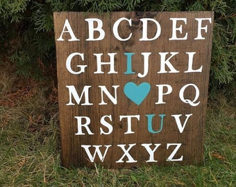 ABC I Love You Rustic Wood Playroom or Nursery Sign