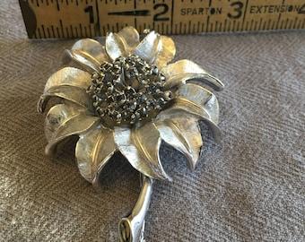 Sliver Sunflower Brooch