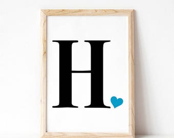 Letter H Wall Decor letter h name print | etsy