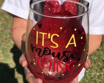 Its A Mouse Thing | Wine Glass | Glitter Wine Glass