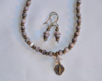 Lavender Miraculous Medal Necklace Set