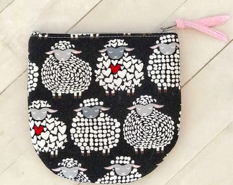 Whimsical sheep zipper pouch coin purse zippered card wallet change pouch