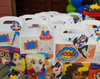 Superhero Girls Favor boxes | Superhero Girls Favors | Superhero Girls Birthday | Superhero birthday set of 10 boxes