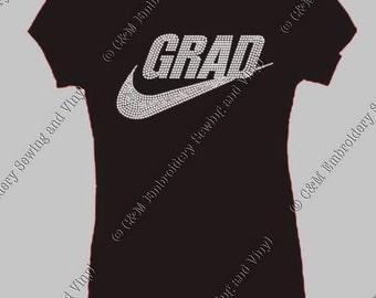 Grad Rhinestone Heel Ladies T-Shirt, Personalized T-Shirt, Women's T-shirt, Ladies Tee