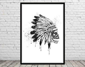Indian Chief, Native American Headdress Indian Chief, watercolor art print, Indian skull, Indian Headdress, black Indian Chief (2571b)
