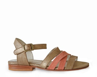 AZALEA Dorado & Salmon - flat Sandals - 100% leather - free shipping
