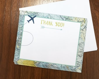 Thank You Cards - Map Adventure Baby Shower - Travel Theme - Digital Download