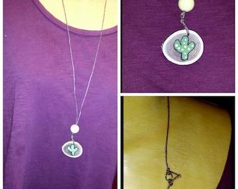 Wood Disc Necklace ~Cactus