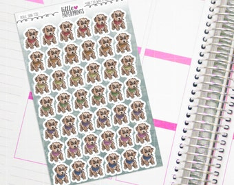 """49 Shih Tzu Puppy Stickers - """"Shih Tzu With A Rainbow Scarf"""" - Commercial Dog Decorative Planner Stickers"""