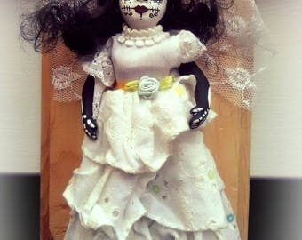Vintage Porcelain hand Painted Day of the Dead Dia De Los Muertos doll