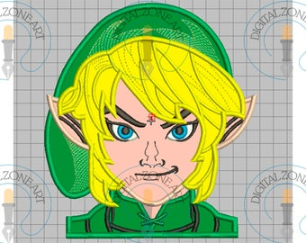 Link Legend of Zelda Applique-Link Legend of Zelda Portrait Head-Machine Embroidery Designs - INSTANT DOWNLOAD