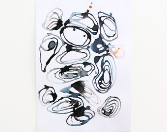 shells. Original Abstract Dye and Ink Painting. Black, blue, orange and grey painting. Modern art, A3 card