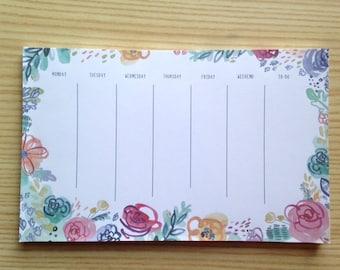 Weekly Calendar Pad - Watercolor Floral or Seaweed Pattern
