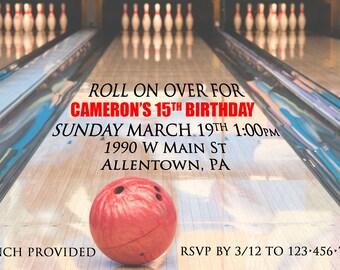 Bowling Lane Birthday Invitation
