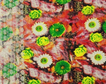 """Decorative Fabric, Floral Print, Embroidery Fabric, Sewing Material, Apparel Fabric, 40"""" Inch Cotton Fabric By The Yard ZBC7695A"""