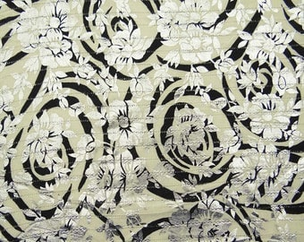 """Floral Rubber Print, Off White Fabric, Home Decoration, Dress Material, 42"""" Inch Cotton Fabric By The Yard ZBC7841A"""