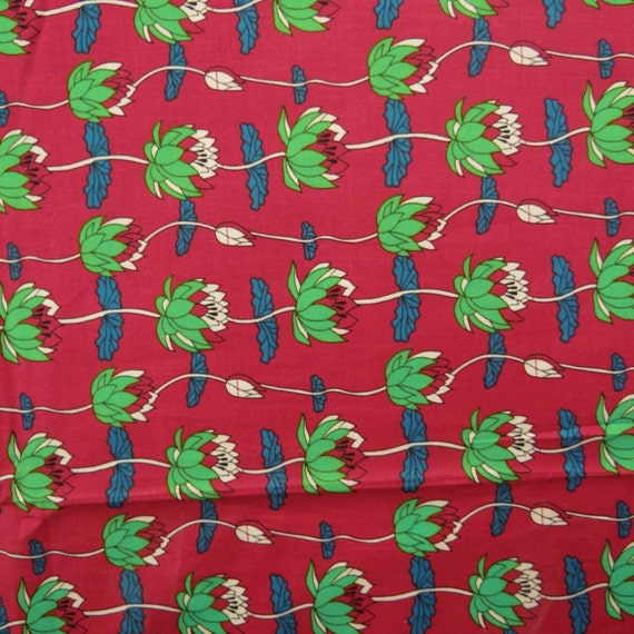 Home Decor Cotton Fabric Floral Print Dress Material Red Fabric Sewing Craft 41 Inch