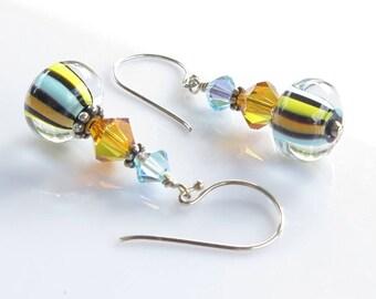 Lampwork Glass Earrings, Blue, Yellow, Black Orange Earrings, Bright Earrings, Fun Jewelry, Liquorice Earrings