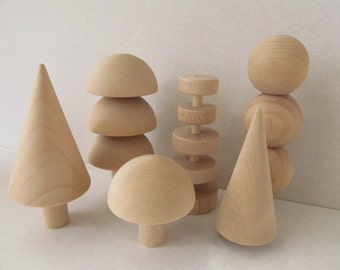 Wooden Tree - Three Dimensional Wooden Tree - Wooden Tree Toy - Set of 6 Trees