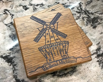 Handcrafted Windmill Michigan Tulip Time Coaster