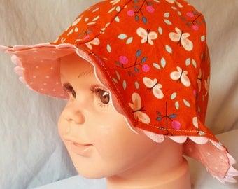 """Sun hat """"Butterfly"""" - Summer hat - Rick rack - GOTS-certified organic fabric - Orange pink - Toddler girl - Outdoor  - Handmade"""