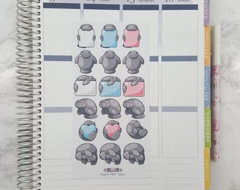 Kawaii Manatee Sticker Sheet