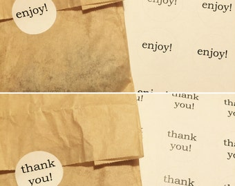 Thank you!   Enjoy!   Your own message   Stickers    Party Favors   set of 20