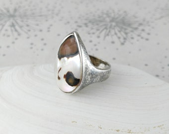 Silver Abalone Ring -Tarnished Silver Ring - Statement Ring - Gift for Women