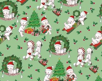 Kewpie Christmas Main Green - Riley Blake Designs - Holiday Dolls Trees Wreath - Quilting Cotton Fabric - by the yard fat quarter half